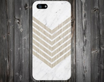 White Marble Geometric Chevron Wood Case, iPhone 7, iPhone 7 Plus, Tough iPhone Case, Galaxy s8, Samsung Galaxy Case Note 5, CASE ESCAPE