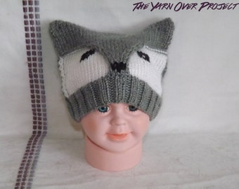 Knit Animal Hat - Fox Hat - Wolf Hat - Baby Wolf Hat - Knitted Wolf Hat