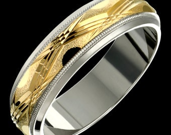 6mm Two-Tone Comfort Fit 10K Solid Gold (not plated) Wedding Band Fashion Ring
