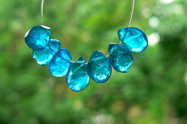 Neon blue apatite gemstone faceted drops beads 7x5mm 13