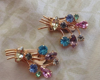 Vintage Multi Colored Rhinestone Gold Tone Floral Bouquet Clip Earrings