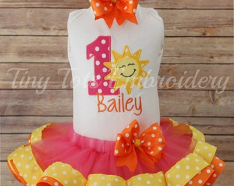 You are my Sunshine Birthday Tutu Outfit ~ Includes Top, Ribbon Trim Tutu & Hair ~ Customize in any colors!