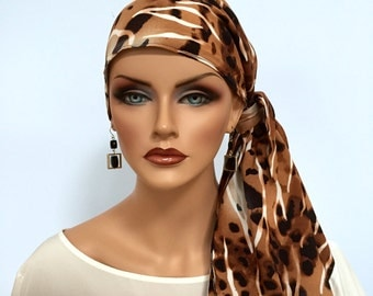 Jessica Pre-Tied Head Scarf, Women's Cancer Headwear, Chemo Scarf, Alopecia Hat, Head Wrap, Head Cover for Hair Loss - Brown Zebra