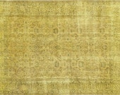 10.4 X 7 FT OVERDYED Vintage Rug -Yellow Color Authentic Handmade Carpet. Free world wide shipping ( 5477 )