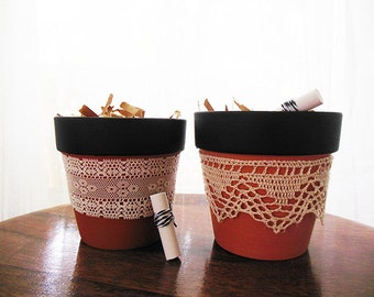Chalkboard Herb Pots with lace (set of 2)