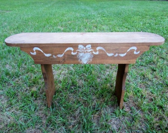 Garden Bench, Rustic Wooden Bench, Primitive Style Cottage Bench