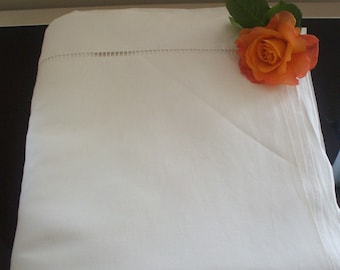 Vintage French linen Metis sheet with Large Ladderwork Detail