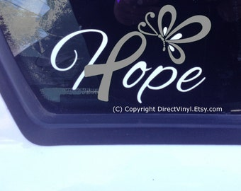 Hope Gray Awareness Ribbon Window Decal (Brain Tumor, Brain Cancer, Allergies, Aphasia, Asthma, Diabetes, Parkinson's)