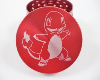"Pokemon Charmander 2.2""Laser Etched 4 Piece Metal Herb Grinder"