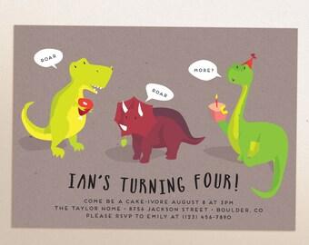 Dinosaur Birthday Party | Printable invitation | Evite / E-vite | Funny Dino Party