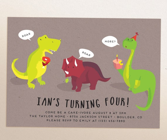 Dinosaur Birthday Party Printable invitation Evite Evite
