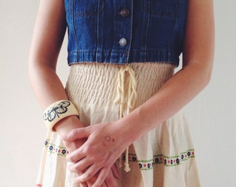 vintage boho style skirt made in Cotton from Japan.