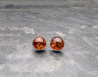 Sterling silver and Baltic Amber post earrings. Handmade. Amber stud earrings.