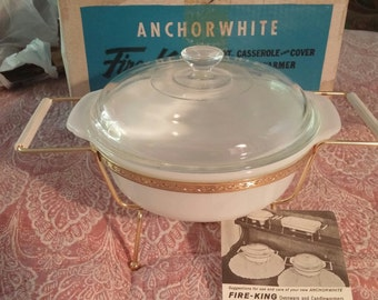 Vintage Fire King 1.5qt Casserole and Cover with Candle Warmer