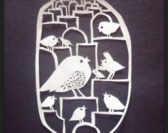 Love birds - handmade paper cutting art