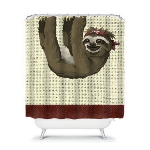Sloth shower curtain burlap design by folkandfunky on etsy for Sloth kong shower curtain