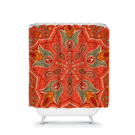 shower curtain coral bohemian garden by folkandfunky on etsy