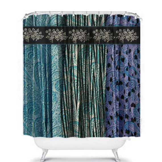 Boho Chic Shower Curtain Gypsy Teal Purple Gray By