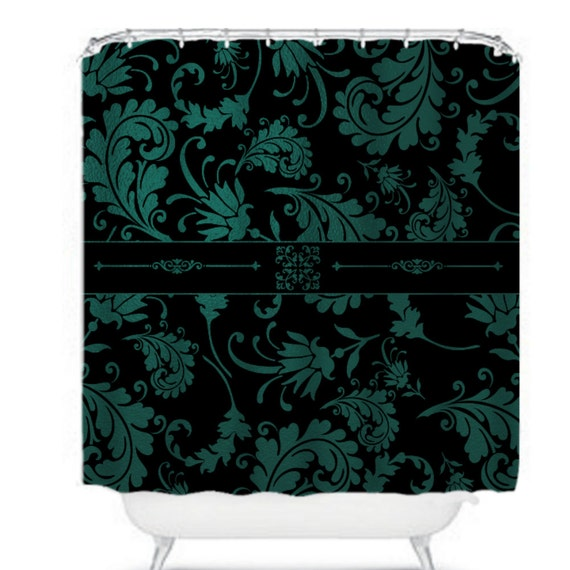 Teal And Black Shower Curtain Gold and Teal Shower Curtain