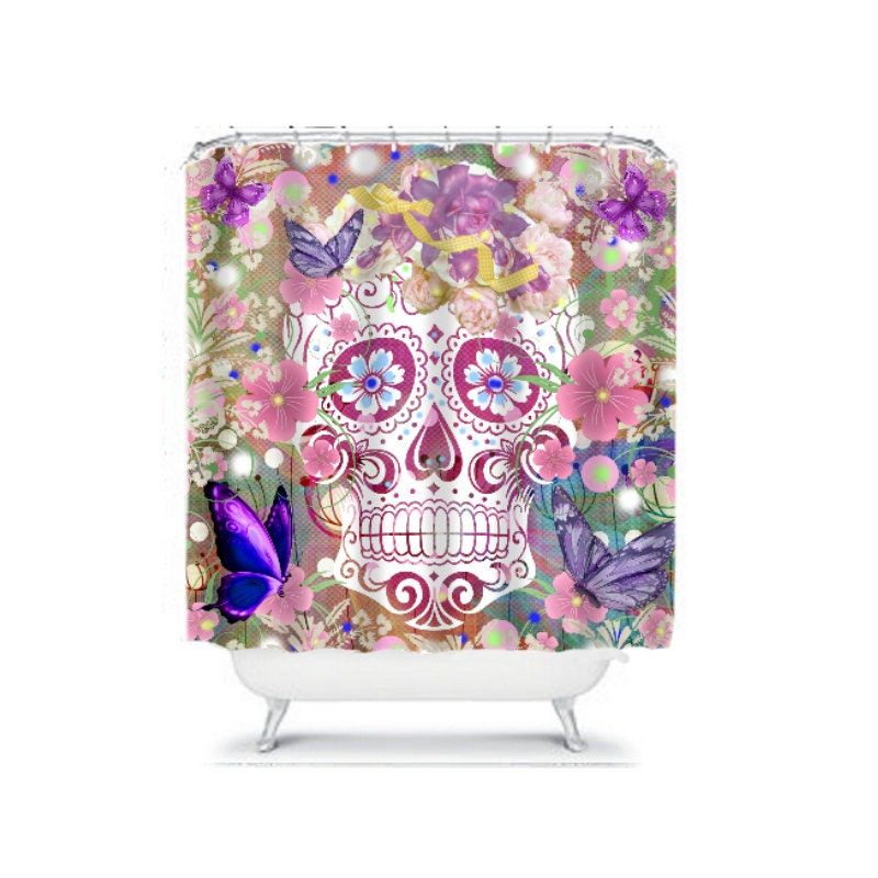 shower curtain sugar skull butterflies flowers by folkandfunky. Black Bedroom Furniture Sets. Home Design Ideas