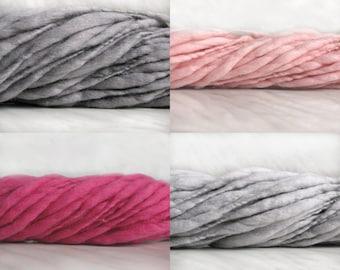 Thick and Thin slub wool yarn TTY 4oz 50-60 yards 18µ handspun art yarn