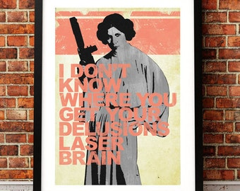 Star Wars Inspired Princess Leia Quote Print A3