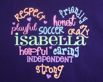 Class, Team or Group T-Shirt! Customize with the names and favorite activities of the girls in your team, class or other group!