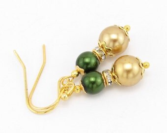 Green and Gold Holiday Dangle Earrings, Christmas Jewelry, Christmas Gift, Stocking Stuffer
