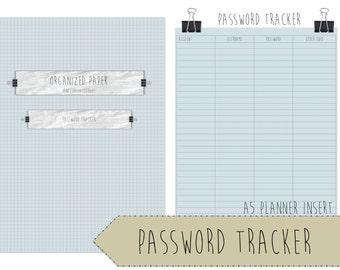 Password Tracker / Filofax / A5 / Trendy scrapbook style / Download / Planner Printable