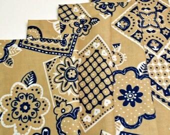 Napkins Khaki with Blue Floral Design Cotton Set of 4