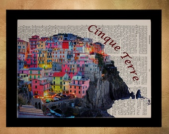 Cinque Terre Italy Dictionary Print Italian Village Travel Gift Ideas Wall Art Home Decor Vernazza Manarola da787