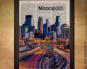 Minneapolis Skyline Dictionary Art Print Twin Cities Minnesota Upcycled Book Wall Art Home Decor Gift Ideas da841