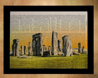 Stonehenge Dictionary Art Print England UK Great Britain Travel Print Gift Ideas Wall Art Home Decor da851