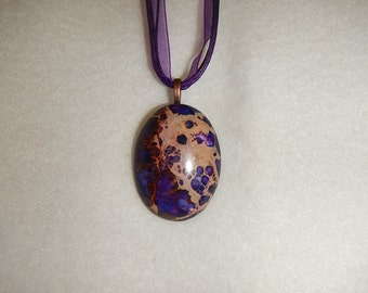 Oval Dark Purple Sea Sediment Jasper pendant (JO241)