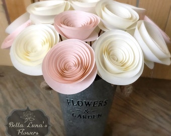 Stemmed Paper Flowers - Table Centerpieces - Flower Centerpiece - Paper Home Decor - Shower Flowers - Blush Pink Flowers - Cream - White