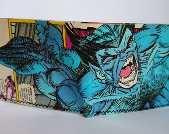 beast & spiderman  - recycled comic book wallet - slim wallet - hanmade wallet - card holder - thin wallet - vinyl wallet - men's wallet