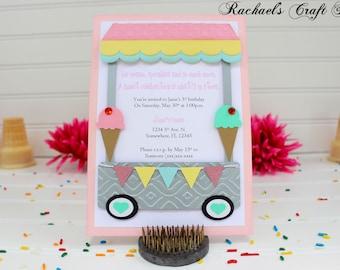 Ice Cream Birthday Party Invitation - Ice Cream Shoppe - Ice Cream Cart