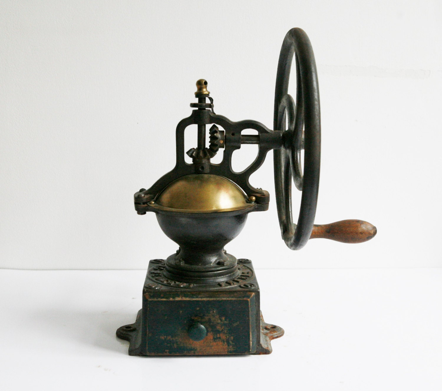 Old Coffee Grinders ~ Antique peugeot coffee grinder a cast iron mill wheel