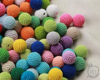 Crochet beads 25 PCS, 12 mm Wooden crochet beads Colorful crochet  beads, handmade craft supplies, bead mix