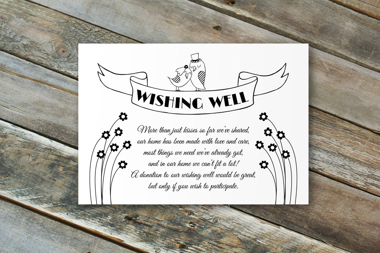 Do Baby Showers Have Wishing Wells ~ Editable wedding wishing well card love birds by