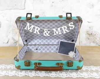 valise urne de mariage aqua - wedding suitcase card holder mint - wedding box card holder - personalized