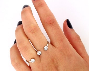 Sterling Silver Multifinger ring Connected CZ Ring two double finger ring (R-02)
