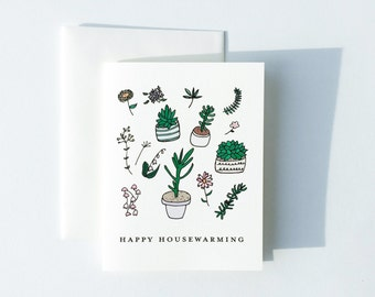 Happy Housewarming Card, Plant Card, New House Card, New Home Card