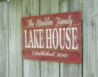 Personalized Lake House Wood Sign Established Wooden Sign Pallet Rustic Word Art Christmas Gift Christmas Present