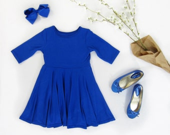 Girls Cobalt Dress with Full Circle Skirt Sizes 2/3, 4/5, 6/6X, 7/8, 10/12 Ready to Ship