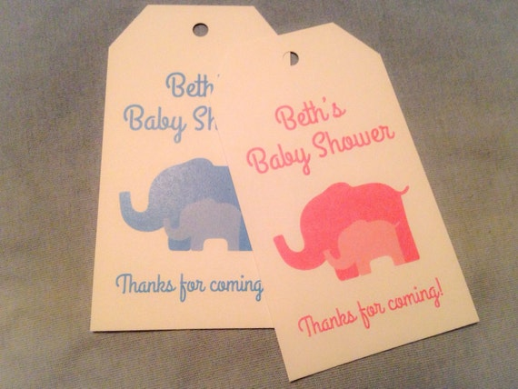 Custom Elephant Hang Tags, Baby Shower Favors, 1st Birthday, Treat ...