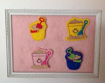 Sand Bucket Feltie 2 styles, color choices
