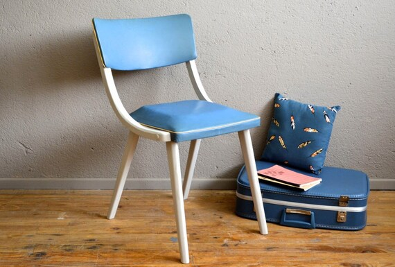 Chair retro vintage pedestal compass and blue rockabilly skai - Carreau de chaise ...