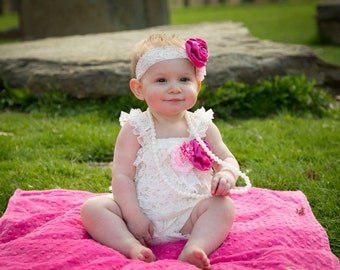 Pink 1st birthday outfit. Baby lace romper set -Cake smash outfit-2nd birthday outfit. Girls Lace Romper- Baby Romper-Lace petti romper,