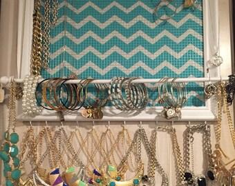 Custom Teal Chevron framed jewelry organizer / jewelry holder